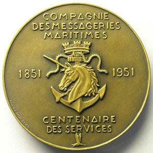 LAVRILLIER   Médaille en bronze  59mm   Compagnie des Messageries Maritimes   Centenaire des services 1851-1951    SUP