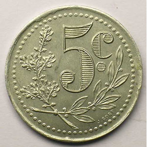 Lec.130   5 Centimes   1921  aluminium    SUP