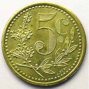 Lec.131   5 Centimes   1921 (Essai) laiton    FDC