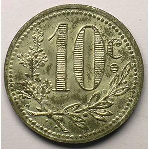 Lec.134   10 Centimes   1916  fer nickelé    SUP