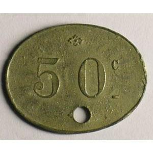 Lec.381   50 Cent. ZnNi, Ov troué  20x26 mm    TTB