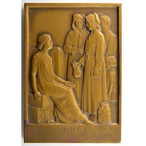 Legendre   Plaque en bronze  55x80mm   L'Hôtel de la Caisse d'Epargne a été inauguré à Metz en mars 1933    SUP