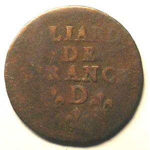 Liard de France   Louis XIV (1643-1715)   D (Lyon)   revers    B/TB