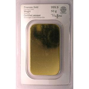 Lingotin 50 g or 999,9 mill.   Fondeur HERAEUS Edelmetalle GmbH Hanau (Allemagne)    NEUF numéroté
