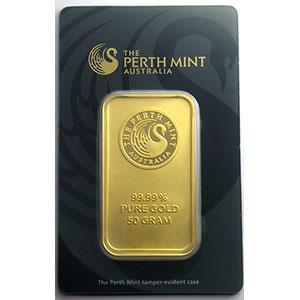 Lingotin 50 g or 999,9 mill.   Perth Mint Australia     NEUF sous blister numéroté