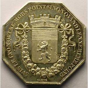 Lyon   jeton octogonal en argent    SUP