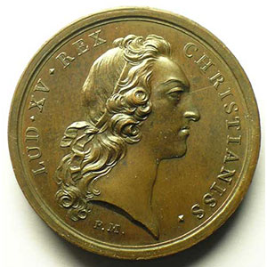 Maladie du Roi Louis XV à Metz   bronze   41mm   août 1744    SUP