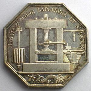 Marais Ste Marie Laplanche et St Denis   1828   jeton octogonal en argent    SUP