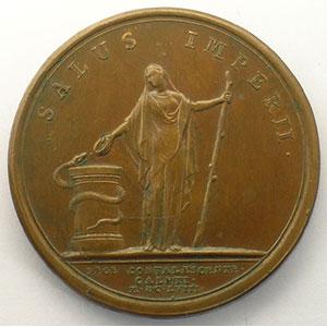 MAUGER   Guérison du Roi à Calais   bronze    41mm    TTB+/SUP