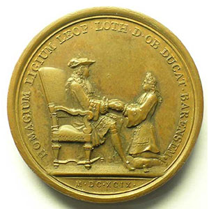 MAUGER   Hommage du Duc Léopold à Louis XIV pour le Duché de Bar   1699   bronze   41mm    SUP