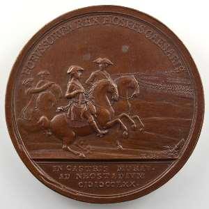 Médaille en bronze  49mm   Arrivée du Roi de Prusse en Moravie   1770    SUP