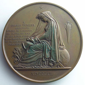 Médaille en bronze  72mm   Charles Percier (1764-1838)    SUP/FDC