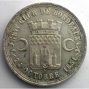 Médaille en cuivre argenté  38mm   New Club de Bordeaux   Société des Steeple Chases    TTB+