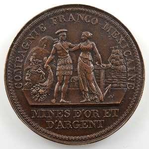 Médaille uniface en bronze  38mm   Mines d'or & d'argent    TTB+/SUP