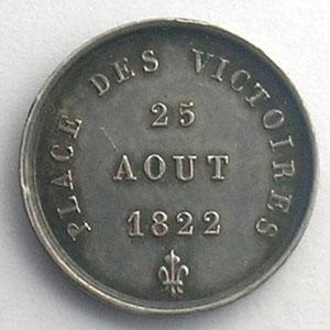 Médaillette en argent  15mm   25 août 1822    SUP