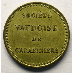 Médaillette ronde en laiton   23 mm   Société Vaudoise de Carabiniers    TTB+