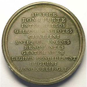 MERCIE   Constitution de la république italienne à Lyon   An X (1802)   argent   48,5 mm    TTB+/SUP