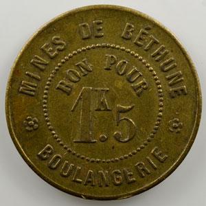 Mines de Béthune   Boulangerie   bon pour 1K5 (pain)   laiton   rond   23mm    TTB+