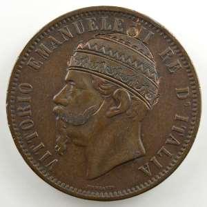 Monnaie satirique   10 Centesimi   Vittorio à la tiare   1866 M    TTB