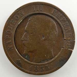 Monnaie satirique ou boîte de forçat   1855 BB    B/TB