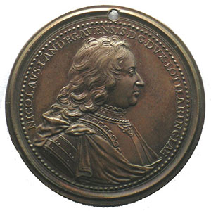 Nicolas d'Anjou  2° type   bronze   47 mm    TTB+/SUP   percée