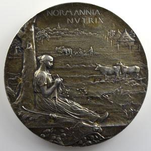O. Roty   Médaille en bronze argenté 68mm   Exposition Nationale et Coloniale de Rouen   1896    SUP