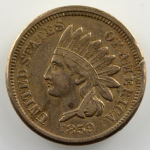 One Cent   1859   Indian Eagle Cent    TB+