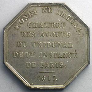 Paris   jeton octogonal en argent   Louis XVIII   1817    SUP