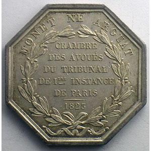 Paris   jeton octogonal en argent   Louis XVIII   1823    SUP