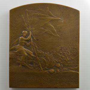 PILLET Ch.   Plaque en bronze  57x70mm   Exposition Franco-Britannique   1908    SUP/FDC