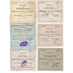Pirot 68-330   50 Pfennig, 2 x 2 Mark sign.différente, 5 Mark, 5 Mark ANNULE, 10, 20 Mark    TTB/NEUF
