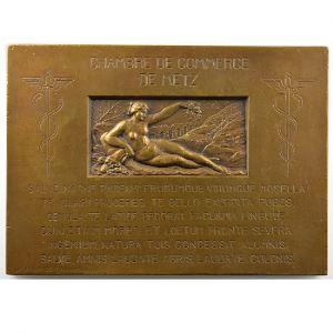 Plaque rectangulaire en bronze  57x79mm   Inauguration du canal des Mines de fer de Moselle   Metz, le 14 août 1932    TTB+