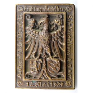 Plaquette uniface en bronze  98x68mm   Allemagne  ADAC (Allgemeiner Deutscher Automobil Club)   12 Mai 1929    SUP