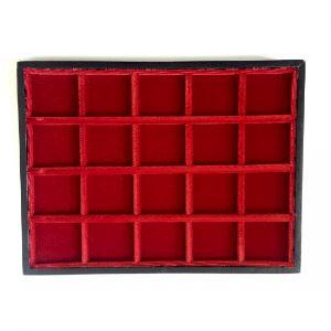 Plateau Minibring en bois et velours   20 cases - 35 mm