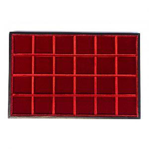 Plateau Standard en bois et velours   24 cases - 45 mm