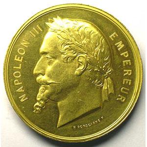 Ponscarme   Société Anonyme de Chatillon et Commentry   médaille en or   50mm   poinçon abeille (1860-1880)    SUP/FDC