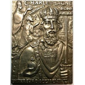 Querolle   Plaque en argent   64x88mm   Couronnement de Charlemagne à Rome en l'an 800   Monnaie de Paris 1973   uniface    SUP/FDC