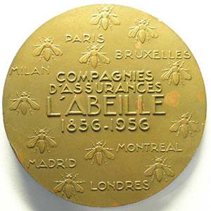 R. Delamarre 1956    centenaire de la compagnie d'assurances L'Abeille   bronze 68mm    SUP