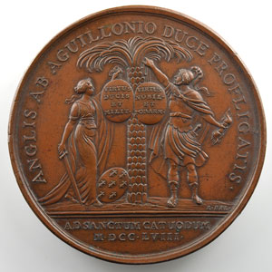 ROETTIERS   Médaille en bronze  62mm   Louis XV   Les Anglais battus par le Duc d'Aiguillon à Saint Cast   1758    TTB+/SUP