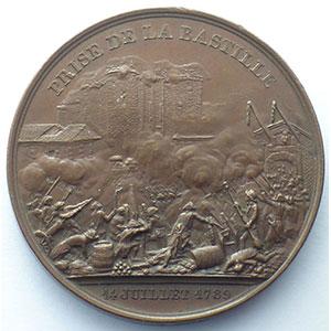 Rogat   médaille en cuivre  42mm   prise de la Bastille/le donjon de Vincennes   1844    SUP
