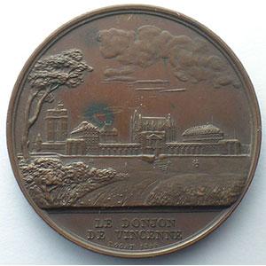 Rogat   médaille en cuivre  42mm   prise de la Bastille/le donjon de Vincennes   1844    TTB+