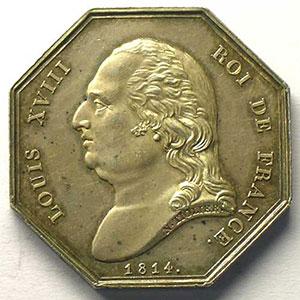 Rouen   jeton octogonal en argent   Louis XVIII   1814    SUP