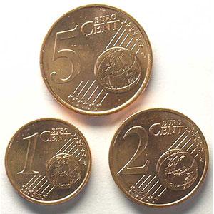 Série de 3 pièces   1 cent, 2 cent, 5 cent   2001    SUP/FDC