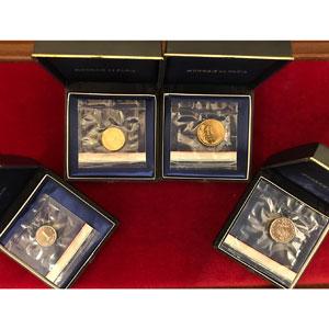 Série de 4 piéforts en métal commun   1 c, 5 c, 10c, 1/2 F   1975    FDC
