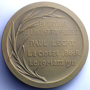 SOMME Th.   Paquebot Paul Lecat   La Ciotat   19 mars 1911   bronze 70mm    SUP