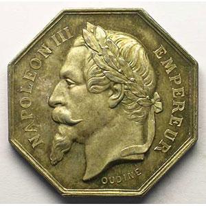 Syndicat de la rivière de Selle (Somme)   jeton octogonal en argent   Napoléon III    SUP/FDC