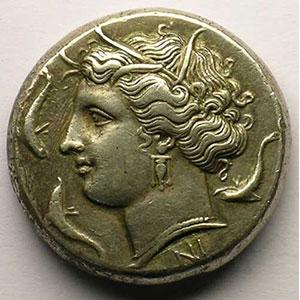 Tétradrachme   (règne d'Agatoclès 317-289 av.JC)    TTB+