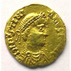 Tremissis pseudo-impérial au nom de Justinien I   (env. 500-580)    TTB