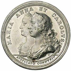 Vestner   Médaille de Mariage avec l'archiduchesse Marie-Anne   étain   44mm   1744    SUP