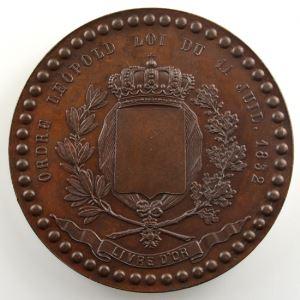 VEYRAT   Médaille en bronze 50mm   Ordre Léopold le 11 juillet 1832    SUP/FDC